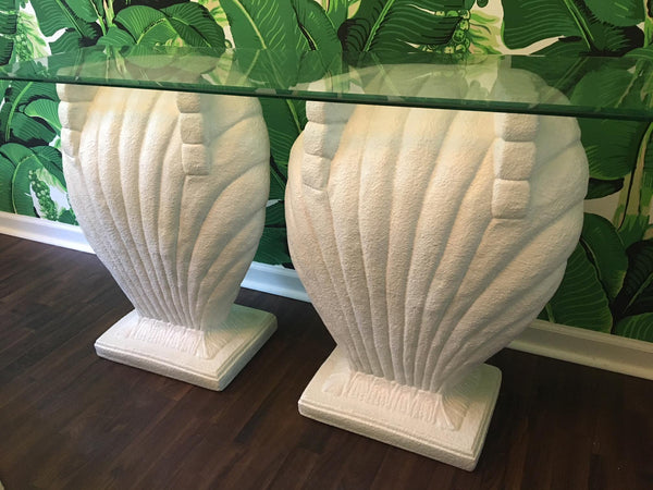 Double Shell Form Console Table in the Manner of Grosfeld House