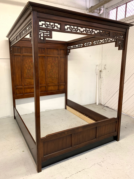 Asian Chinoiserie Queen Size Opium Canopy Bed by Bernhardt