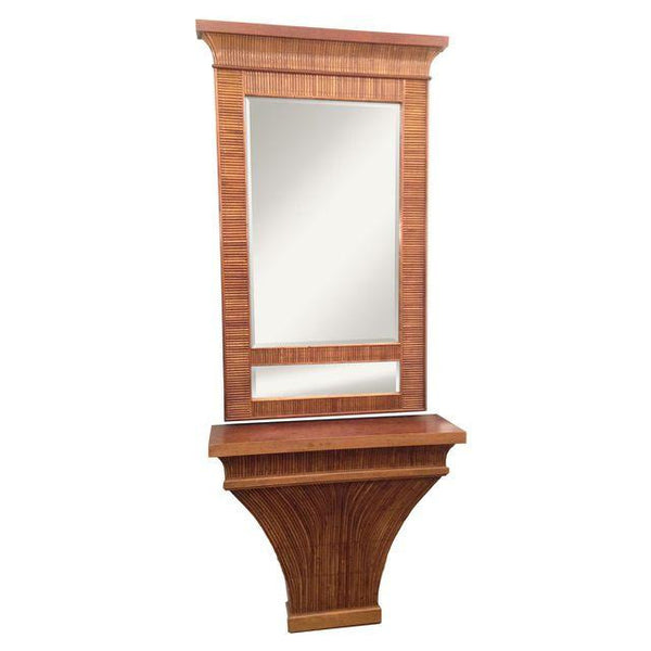 LaBarge Pencil Reed Console and Mirror