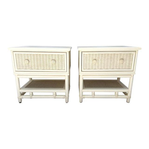 Palm Beach Regency White Rattan Bamboo Wicker Nightstands