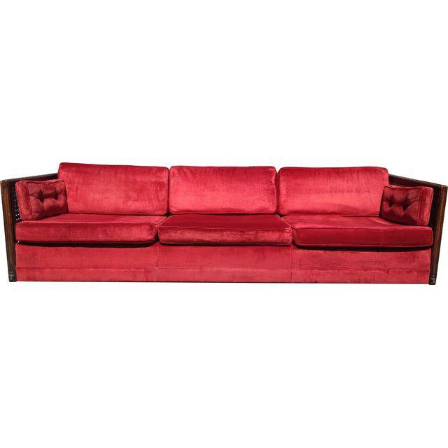 Ruby Red Velvet Cane-Side Sofa