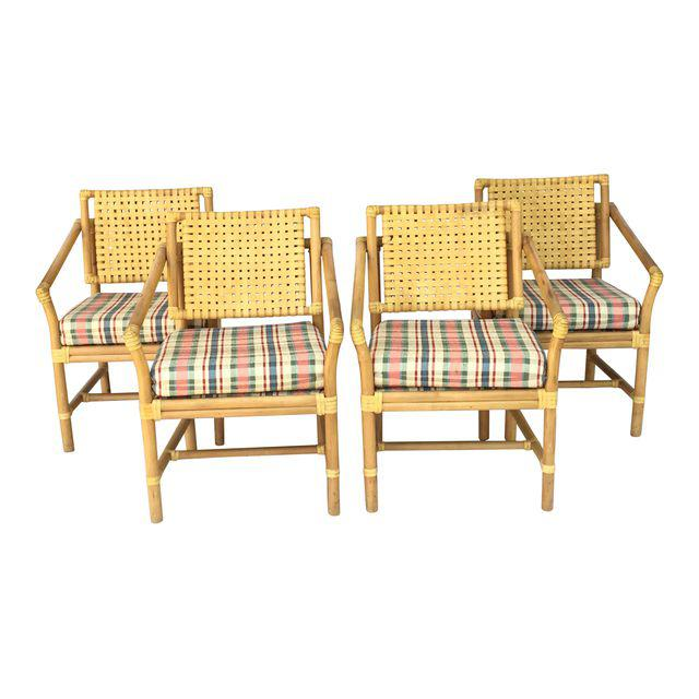 Brown Jordan Leather and Rattan Bamboo Dining Arm Chairs