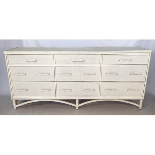 Vintage Cane and Rattan Palm Beach Regency 9 Drawer Dresser
