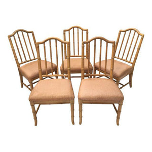 Set of 5 Hollywood Regency Faux Bamboo Dining Chairs