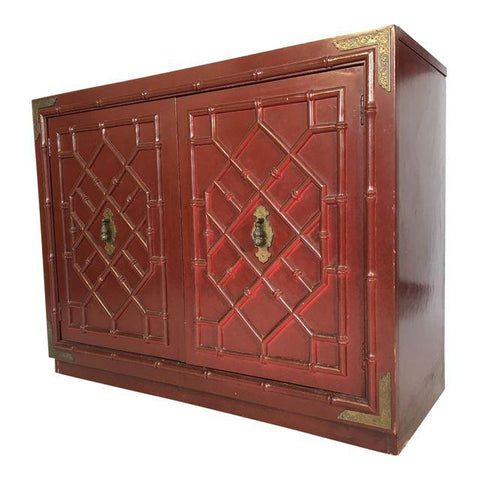 Huntley by Thomasville Faux Bamboo Chinoiserie Two-Door Cabinet