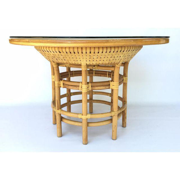 Brown Jordan Leather Rattan Bamboo Round Dining Table side view