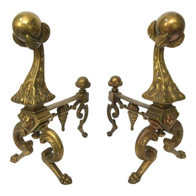 Pair of Solid Brass Lion Head Fire Ball Andirons