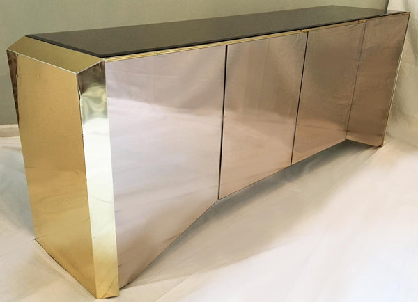 Ello Mirror and Brass Hollywood Regency Credenza