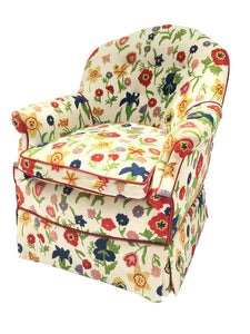 Crewel Embroidered Floral Hollywood Regency Club Chair