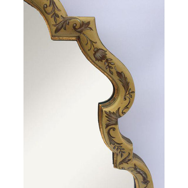 La Barge Baroque Gold Hand Painted Mirror close up