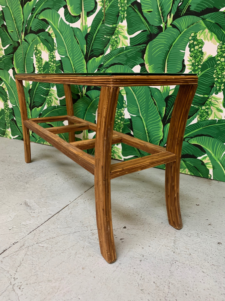 Split Reed Rattan Console Table side view