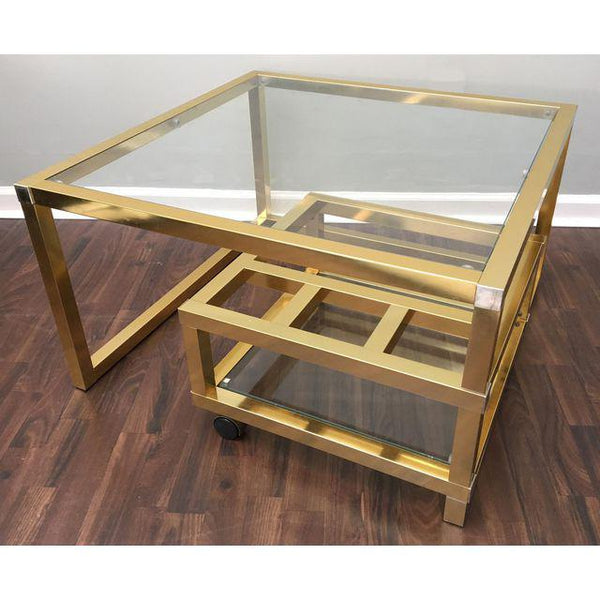 Cubist Brass Swivel Coffee Table with Wine Rack After Milo Baughman closed