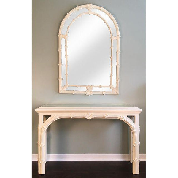 Hollywood Regency Roche-Style Gampel Stoll Console Table and Mirror