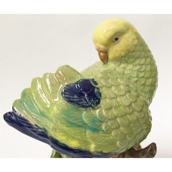 Pair of Sculptural Ceramic Parakeet Birds