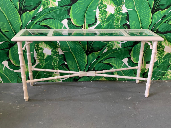 Faux Bamboo and Glass Console Table front view
