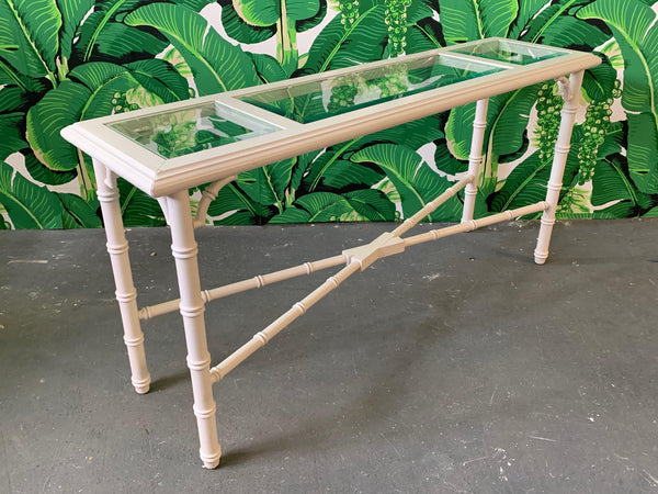 Faux Bamboo and Glass Console Table side view