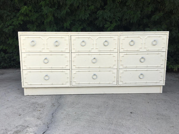 Faux Bamboo and Rattan 9-Drawer Dresser by Omega front view