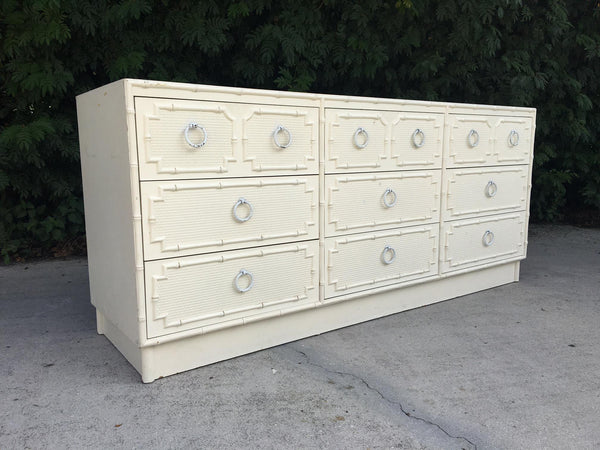 Faux Bamboo and Rattan 9-Drawer Dresser by Omega full view