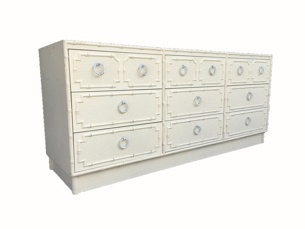 Faux Bamboo and Rattan 9-Drawer Dresser by Omega