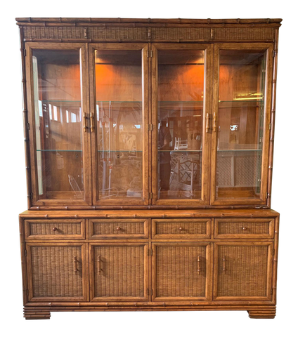 Faux Bamboo and Rattan China Cabinet by American of Martinsville