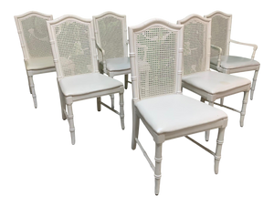 Faux Bamboo Cane Back Dining Chairs by Thomasville, Set of 6
