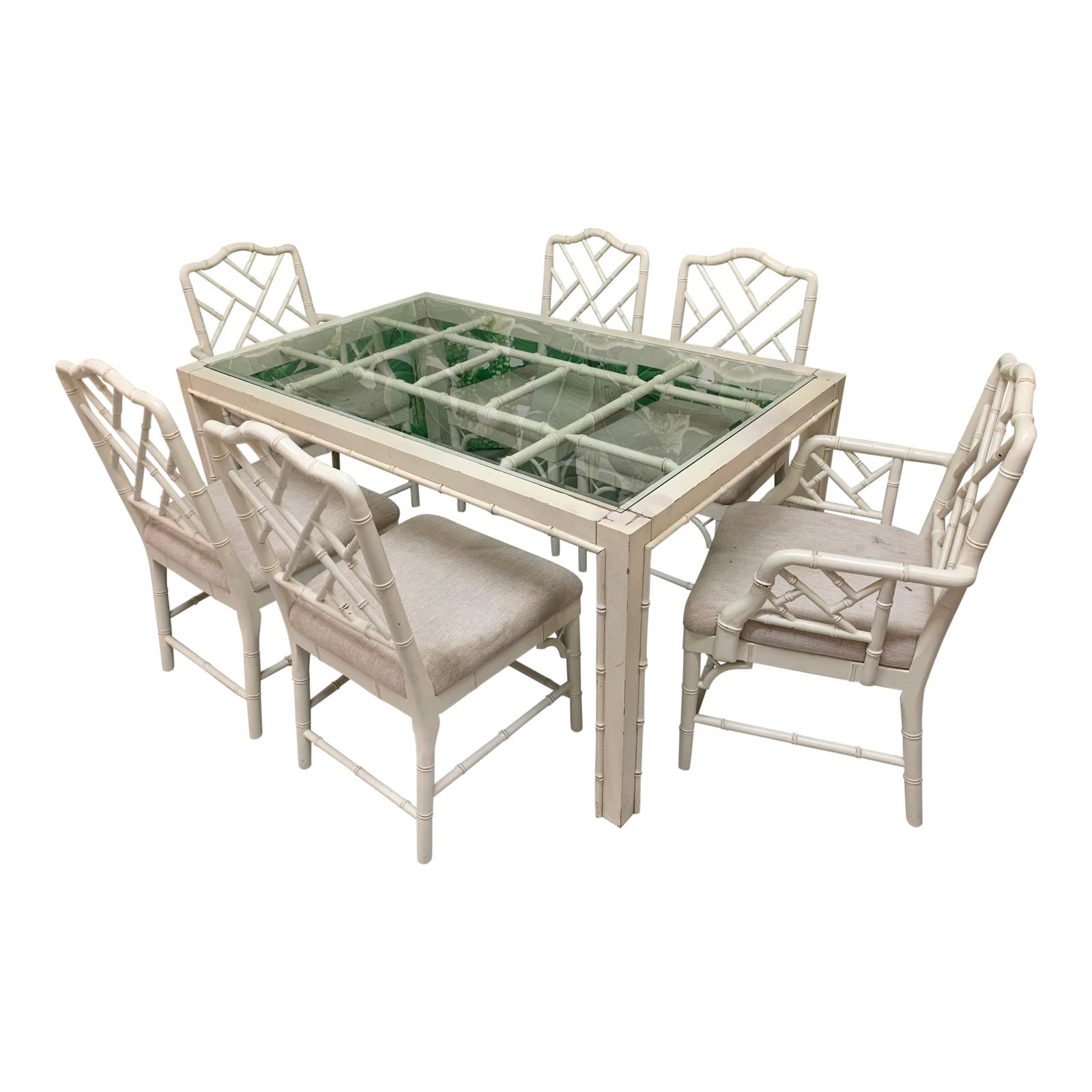 Faux Bamboo Chinese Chippendale 7 Piece Dining Set Marjorie And Marjorie