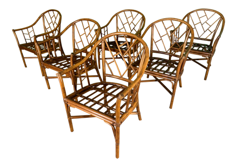 Faux Bamboo Chinoiserie Rattan Arm Chairs, Set of 6