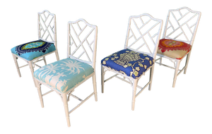 Faux Bamboo Chinoiserie Style Dining Chairs - Set of 4