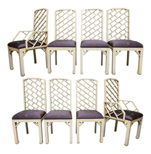 Faux Bamboo Chinoiserie Style Dining Chairs, Set of 8