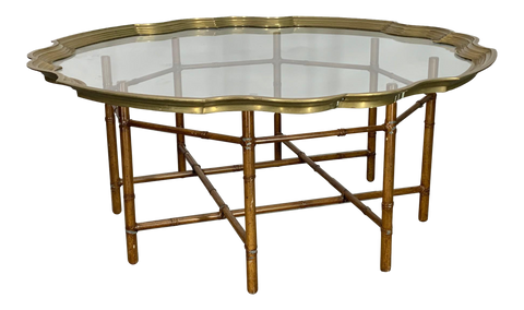 Faux Bamboo Coffee Table With Brass and Glass Top