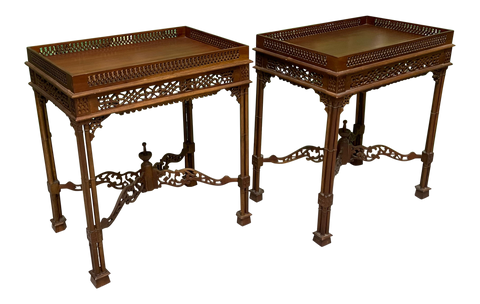 Faux Bamboo Fretwork End Tables, a Pair
