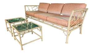 Faux Bamboo Metal Chinoiserie Patio Sofa and Tables by Meadowcraft