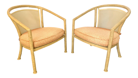 Faux Bamboo Metal Patio Chairs by Meadowcraft