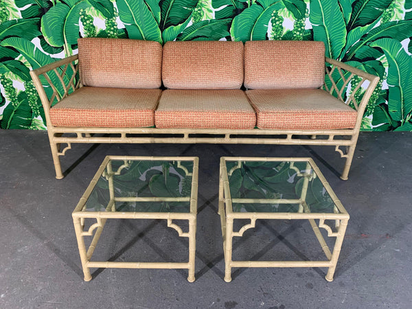 Faux Bamboo Metal Chinoiserie Patio Tables by Meadowcraft