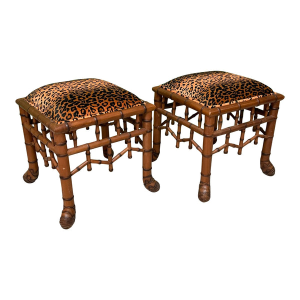 Faux Bamboo Pavilion Style Leopard Print Footstools, a Pair