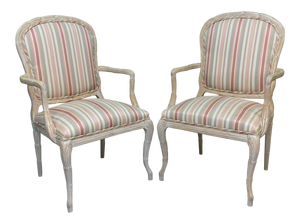 Faux Bois Arm Chairs in Striped Upholstery, a Pair
