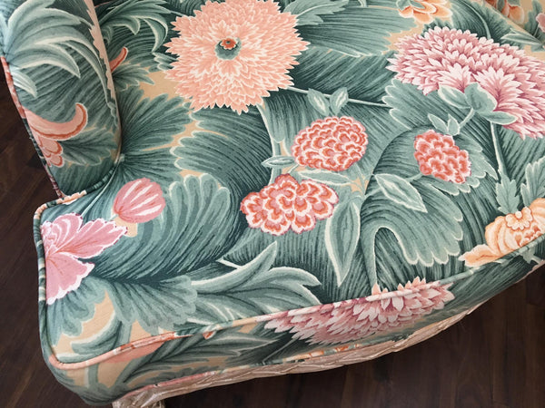 Pair of Faux Bois Floral Bergere Chairs seat