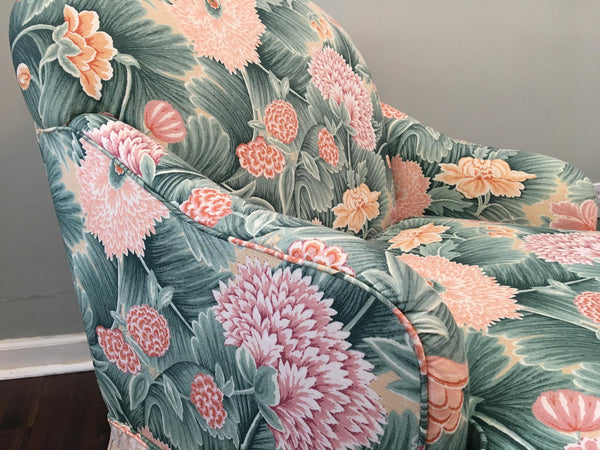 Pair of Faux Bois Floral Bergere Chairs arm detail