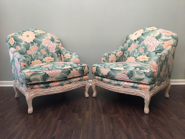 Pair of Faux Bois Floral Bergere Chairs front view