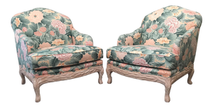 Pair of Faux Bois Floral Bergere Chairs