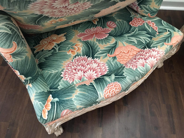Pair of Faux Bois Floral Bergere Chairs under side