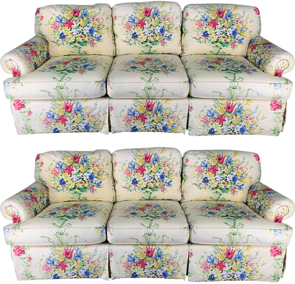 Pair of Floral Upholstered Sofas by Sherrill