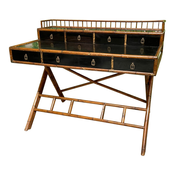 French Riviera Style Bamboo and Rattan Office Desk