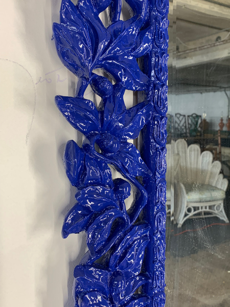 Hand Carved Floral Framed Mirror side view