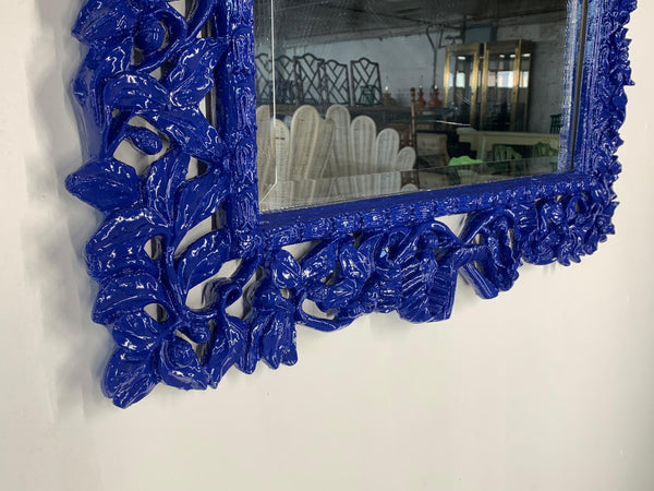 Hand Carved Floral Framed Mirror bottom view