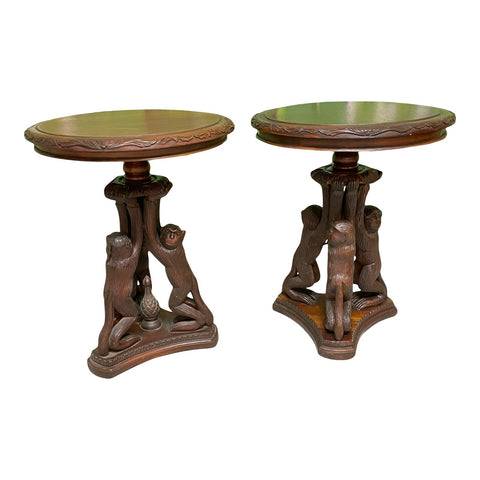 Hand Carved Monkey Pedestal Tables, a Pair