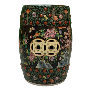 Hand Painted Floral Chinoiserie Garden Stool
