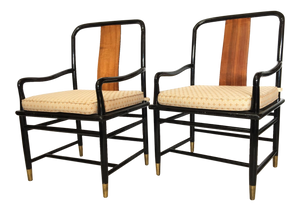 Henredon Asian Chinoiserie Elan Koa Wood Dining Arm Chairs