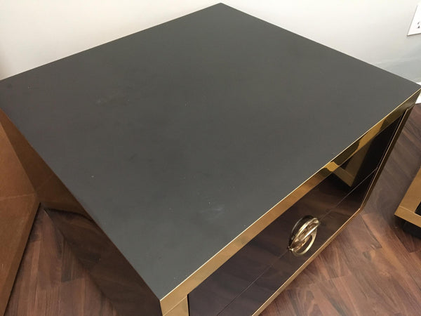 Pair of Hollywood Regency Black Lacquer and Brass Asian Nightstands top view