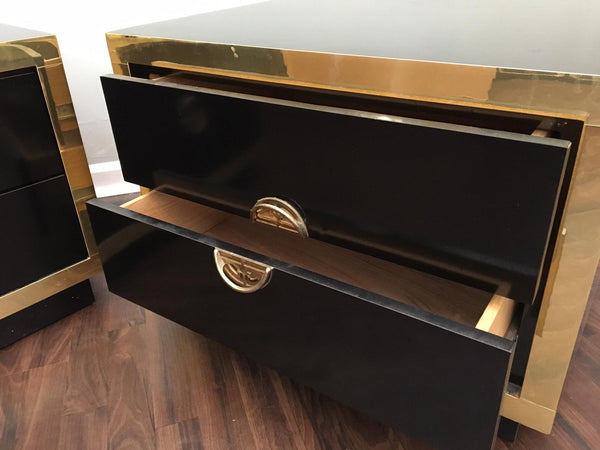 Pair of Hollywood Regency Black Lacquer and Brass Asian Nightstands drawers